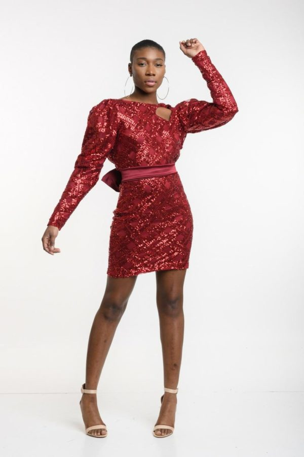 sequin dress with open back and detachable belt
