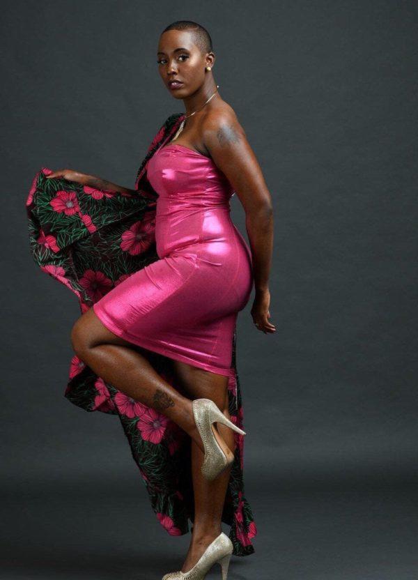 pink Ankara dress with unique design