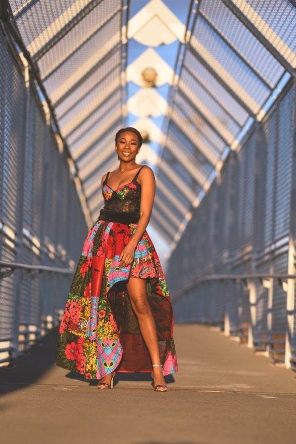 African clothing for women, two- piece Ankara patch work maxi skirt and corset top. Prom dress