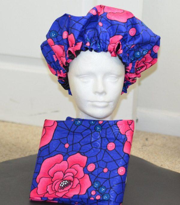Ankara Satin lined bonnet Adult, with optional head wrap