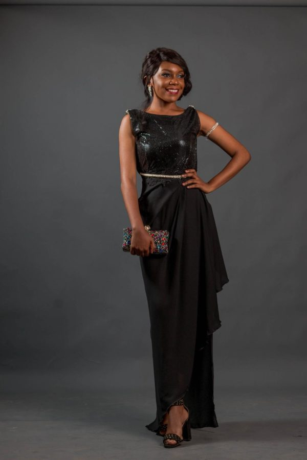 Black prom dress with cowl low back. DINNER , COCKTAIL DRESS