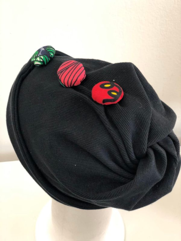 Custom beanie with ankara buttons design