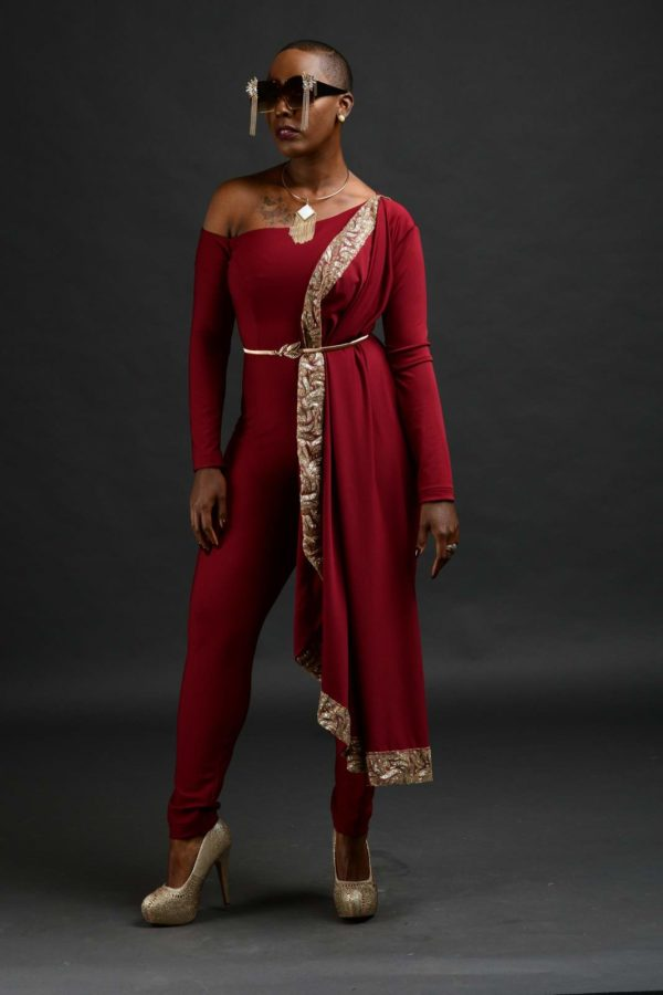 red jumpsuit with belt