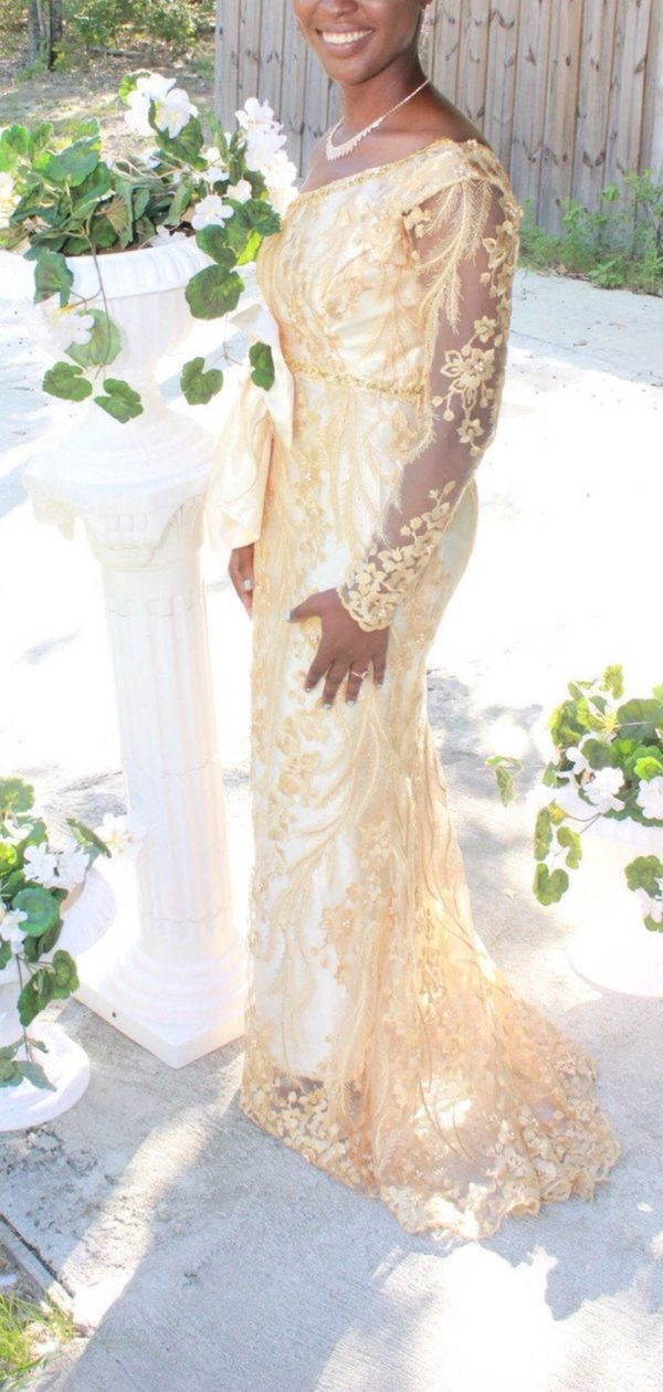 Gold lace reception dress