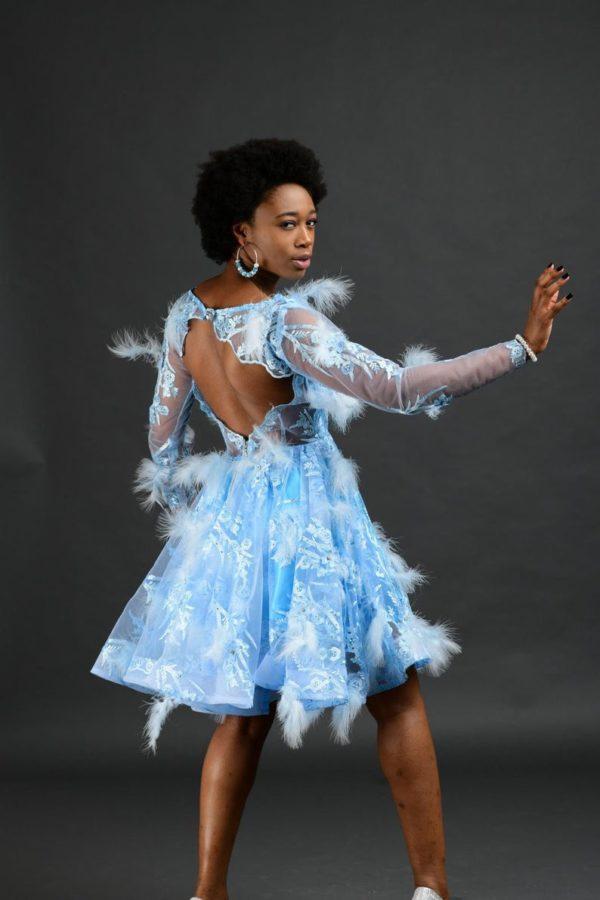 Light blue boho long sleeve wedding dress, simple short lace wedding dress