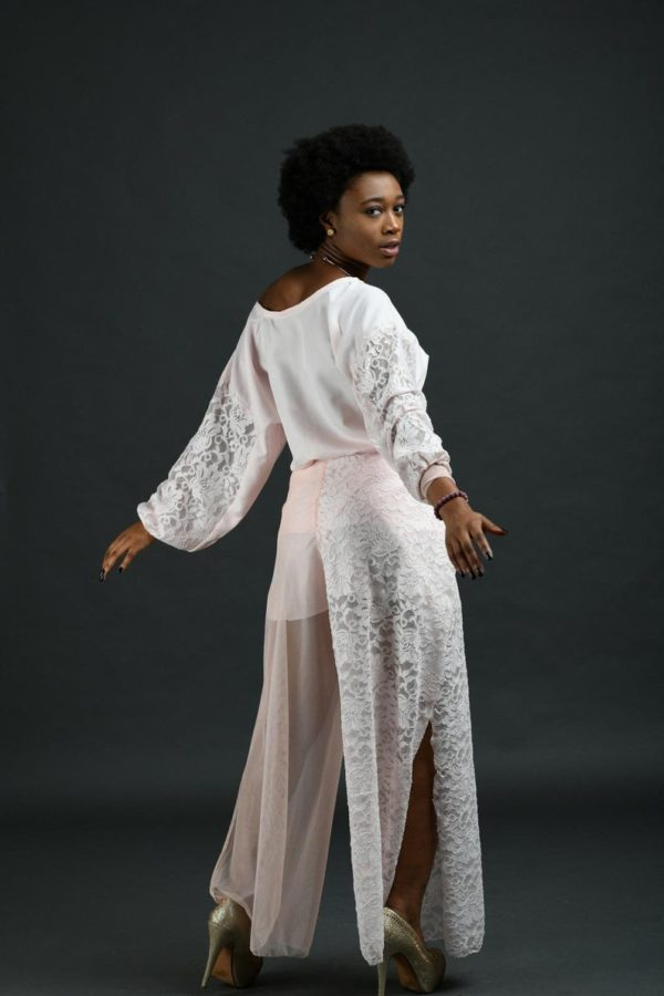 Puff sleeve top for women with, lace palazzo pants