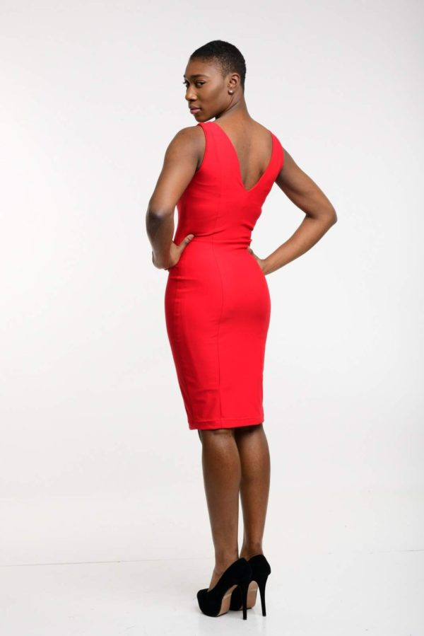 Red Bodycon Dress, Sexy Pencil Dress with detachable polka dot attachment, and red buttons