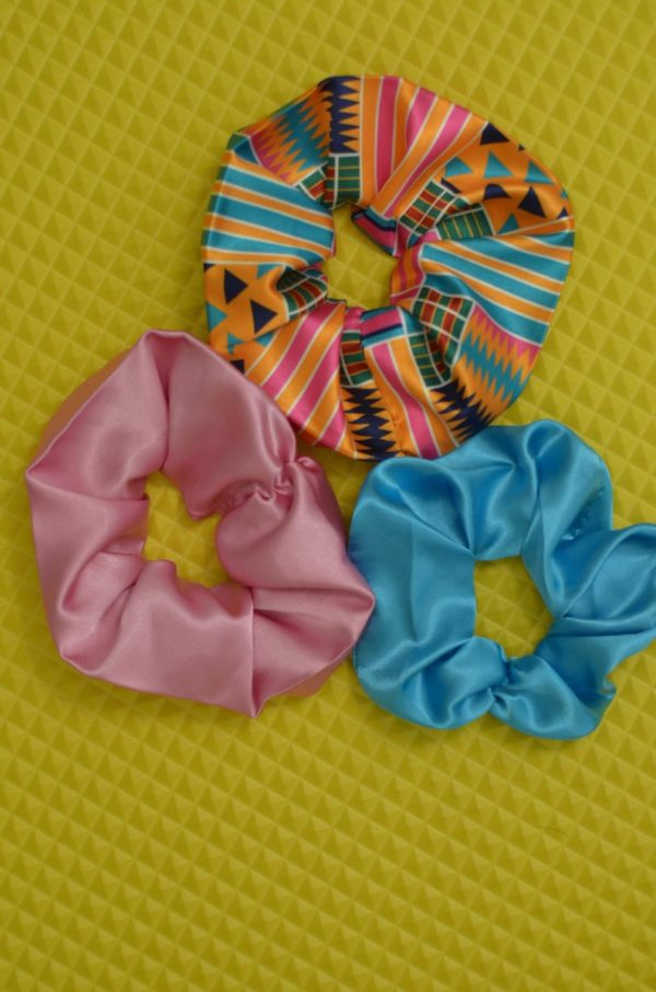 Satin scrunchies for curly natural hair, 3 pack set