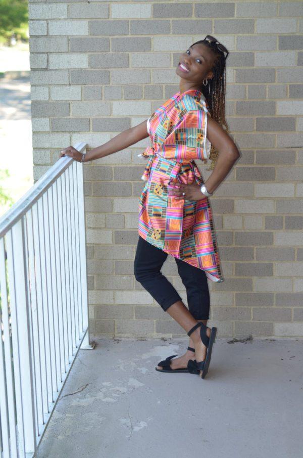 Silk African print kimono robe, Kimono jacket