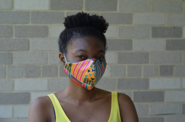 African print satin face mask with filter pockets and nose wire