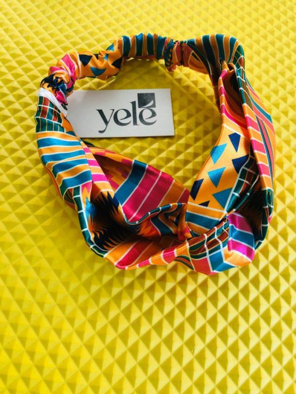 African print satin headband, twisted yoga headband