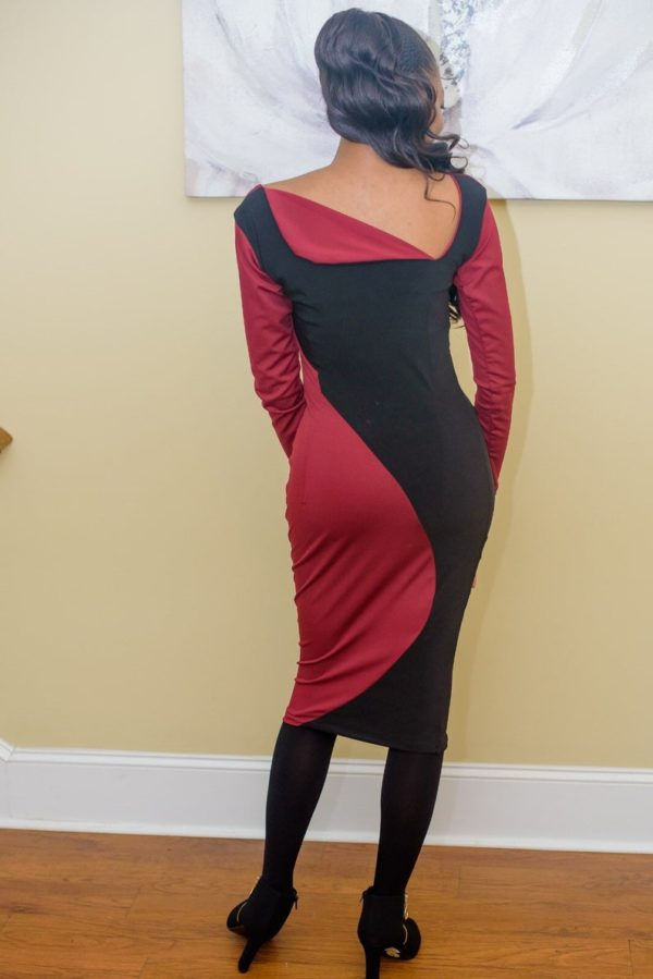 Burgundy and black pencil bodycon dress