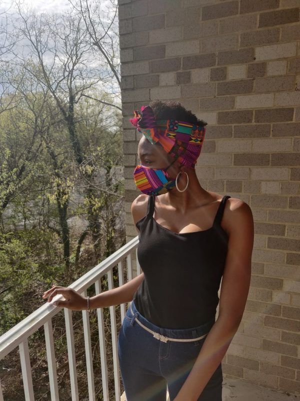 Cotton reusable face mask, made in USA, Ankara mask with filter pocket, washable mask, African head scarf and mask combo