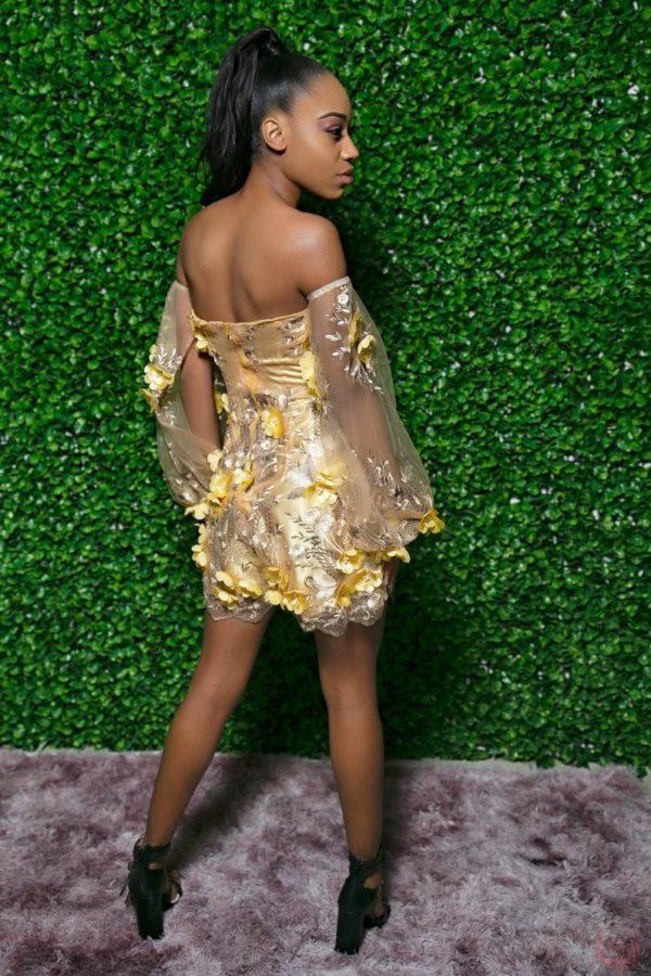 Gold corset romper prom dress,Floral Lace ROMPER dress with DETACHABLE belt cape