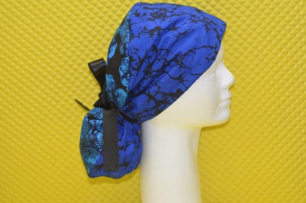Ponytail scrub cap with satin lining, surgical caps for women