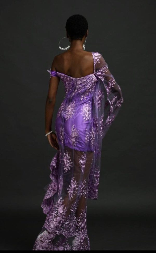 Purple flowing sleeves lace dress with satin and big rose, high slit, off shoulder gown for prom, bridal, cocktail, pencil evening oufit