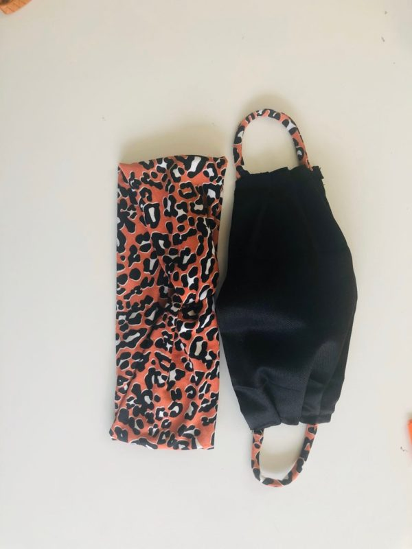 Reusable Black Face mask with filter pocket, matching cheetah print headband ,USA made, mouth mask fashion, cotton face mask