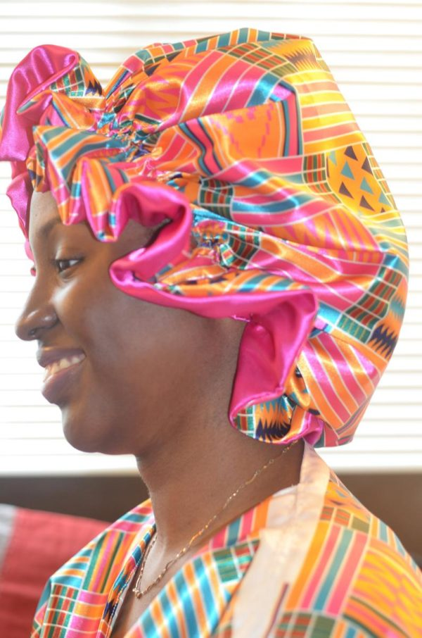 Reversible African print satin bonnet with ruffle edges, satin bonnet adult