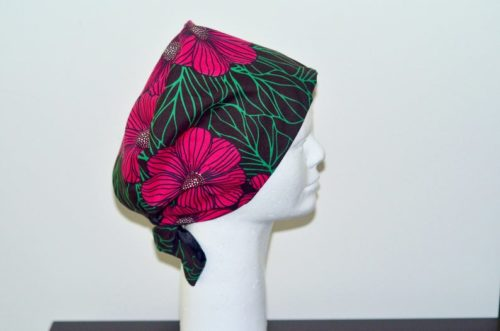 Scrub cap with satin lined for Natural hair  Satin lined Surgical hat with button for Natural hair