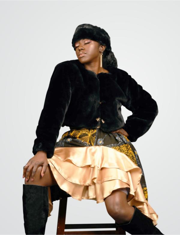Winter Jacket and Headband with Adire Skirt